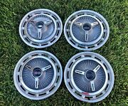 1966 Chevy Ss Super Sport Hubcap Set With Spinners - Nice - Ref 12-28