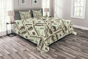 Ambesonne Money Bedspread Heap Of Dollars Pattern Currency Pile With Ben Frankl