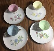 Lefton's China, Japan, Hand Painted Pastel And Floral Cup And Saucer Snack Set 4
