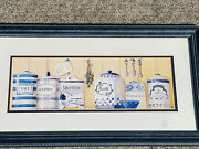 Vintage Blue Willow Cookie Jar Salt Spice Wall Litho Art Painting By Aa ❤️sj3j
