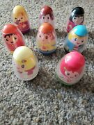 Egg Shaped Hasbro People Weebles Set Of 8 With Spinner And Car