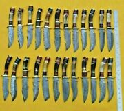 24 Pieces Handmade Damascus Steel Hunting Knives And Sheaths | Stag Horn Handle