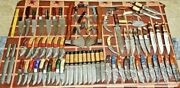 Lot Of 72 Pcs Damascus And Steel Skinner Hunting Folding Knives And Axes | Sheaths