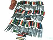 86 Pieces Handmade Damascus Steel Toothpick Folding Pocket Knives And Sheaths