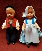 Rhtf Antique Eds 12 Germany Hard Plastic Dolls Boy Girl Pair 4.5 Collectible