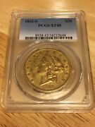 1862-s 20 Pcgs Xf45 Liberty Double Eagle Gold Coin Type 1 Civil War Orig Skin