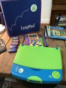 Leap Pad Quantum Pad Learning System 5 Cartridges With Books Case