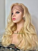 Luxury Human Hair Golden Blonde Wig Ombré Wavy Layered Lace Front 22 Inch Long