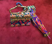 Vintage 60's 70's Indian Bag And Umbrella Set Colorfull Beach