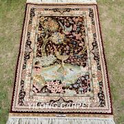 Yilong 2'x3' Floral Tapestry Hand Knotted Area Rug Vintage Silk Carpet T134a