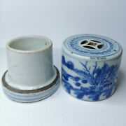 Antique Chinese Blue And White Porcelain Box 19th Century.