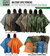 Usgi Industries Military Style Multi-use Rip Stop Rain Poncho Colors Available