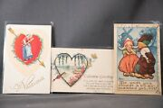 Lot Of 8 Antique Valentine Day Postcards From Estate Collection