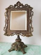 Antique Victorian Cast Brass Frame Standing Vanity Table Top Beveled Mirror 19