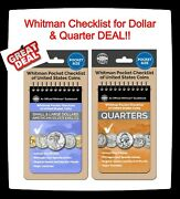 2 Whitman Pocket Checklist Of Us Quarter And Large/small/ase Dollar Coins Issues