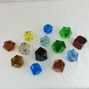 13 Antique Czech Bohemia Paperweights Multi-colored Cube Faceted Colorful Glass
