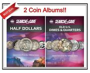 2 Whitman Search And Save Half Dollars And Dimes/quarters Coins Album 1800s - Date