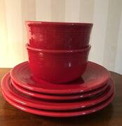 Lot Of 6 - Fiesta Ware, Scarlet Red, 2 Dinner, 2 Luncheon, 2 Gusto Bowls
