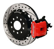 Wilwood Combination Parking Brake Rear Kit 12.88in Drilled Red For 05-14 Mustang