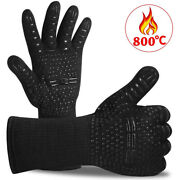 Multi-purpose Fireproof Bbq Grill Gloves Indoor Outdoor Use For Men And Women Blac