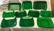 Vintage Square Green Glass Luncheon Salad Plates 8 Plus Two Serving Platters