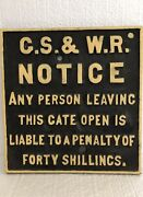 Vintage G.s.w.r. Great Southern Western Railway Cast Iron Sign 1844-1924 Ireland