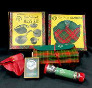 Official Girl Scout Mess Kit Canteen Compass Flashlight Toothbrush Kits 1970
