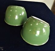 2 Vintage Porcelain On Metal Green And White Angled Lamp Shades Fit 6.5 To 6.75