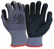 Wolf Work Gloves 13-gauge Ultra-thin Nitrile Coated Palm Grip Multipurpose 12prs