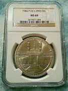 1984 P Olympics Commemorative S 1 Ms 69 Ngc Very Nice Coin