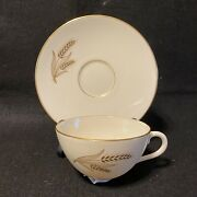 Lenox China Wheat Pattern R-442 Cup And Saucer Vintage. Lot X264