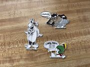 Vintage Lot Of 3 Looney Tunes Magnets 1990s Taz, Marvin The Martian And Sylvester