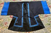 Antique Chinese Embroidery Robe Double Dragon Woven Damask Silk