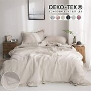 Simpleandopulence 100 Washed Linen Duvet Cover Set 3 Piece Home Bedding Sets With
