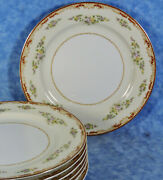 7 Gold China 10 Dinner Plates- Floral, Scrolls And Gold- Occupied Japan- Euc