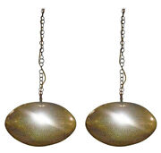 Oval Shaped Modern Gold Brass Pendant Chandeliers Pair