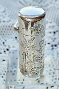 1871 Sampson Mordan And Kate Greenaway Sterling Silver Antique Scent Bottle Rare