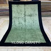 Yilong 6and039x9and039 Green Silk Area Rug Hand Knotted Carpet Flooring Handmade 151c