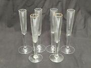 Lot Of 6 Footed Clear Glass Bud Flower Vases 7 Tall Round