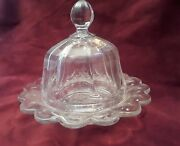 Antique Heisey Round Colonial Domed Butter Cheese Dish,marked Tray