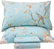 Queenand039s House Egyptian Cotton Birds Queen Size Sheets Set Blue Luxury Bedding Co