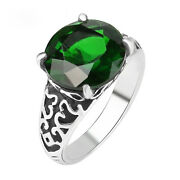 Antique Green Emerald Ring With Inlay Settings Women Ring Jewelry Gift For Her