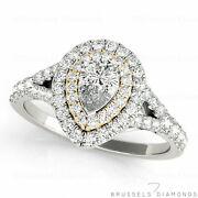 1.05 Ct Natural Pear Shaped Diamond Halo Engagement Ring H/si2 14k White Gold