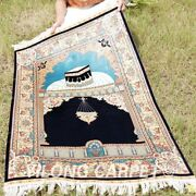 Yilong 3and039x4.5and039 Blue Handmade Silk Carpet For Prayer Tapestry Home Area Rug 0032