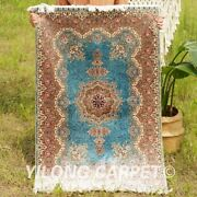 Yilong 3and039x4.5and039 Traditional Hand Knotted Silk Carpet Blue Tapestry Area Rug 0568