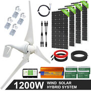 Eco 600w 800w 1200w Hybrid Wind And Solar Panel Kit Power Supply System For Home