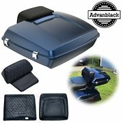Advanblack Big Blue Pearl Razor Tour Pack Trunk Luggage For 1997+ Harley Touring