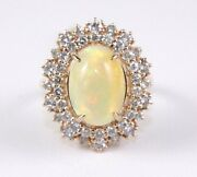 Natural Oval Fire Opal And Diamond Halo Solitaire Ladyand039s Ring 14k Rose Gold 5.15ct