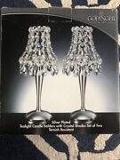 Silver Plated Tealight Candle Holders W Crystal Shade Set Of Two Godinger Art Co