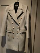 Nwot Hard To Find Gray Balmain Double Breasted Wool And Cashmere Coat
